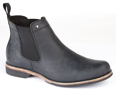 Woodland Black Leather Chelsea Pull On Boot M013 A
