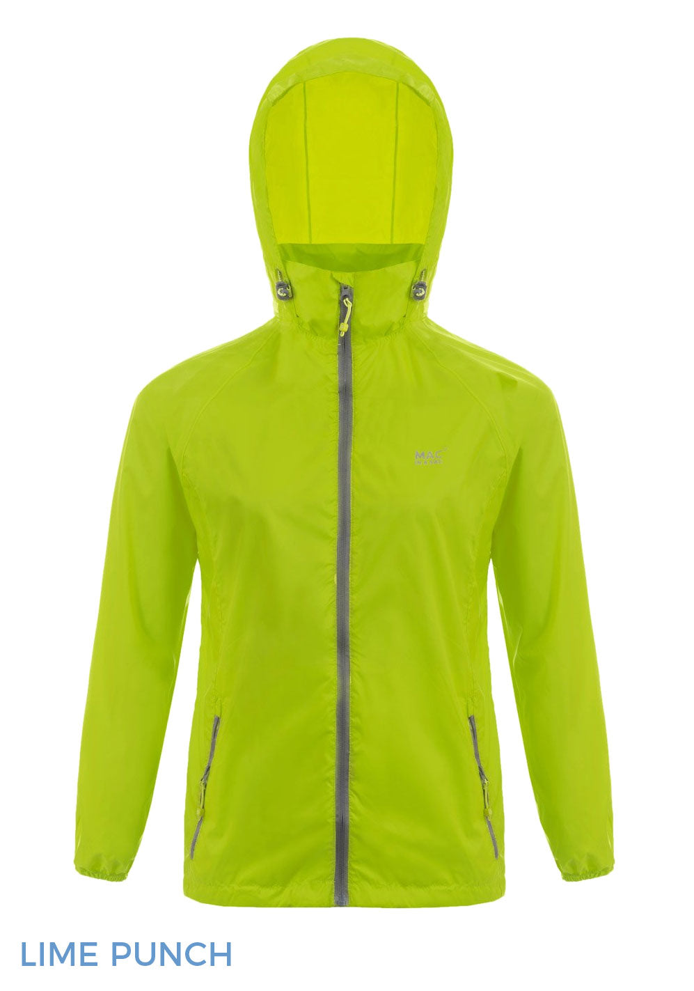 Hooded lime punch Packaway Waterproof Jacket by Lighthouse
