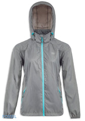 hooded Fossil Grey Packaway Waterproof Jacket by Lighthouse
