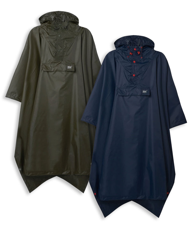 Mac in Sac waterproof poncho in Navy and Olive