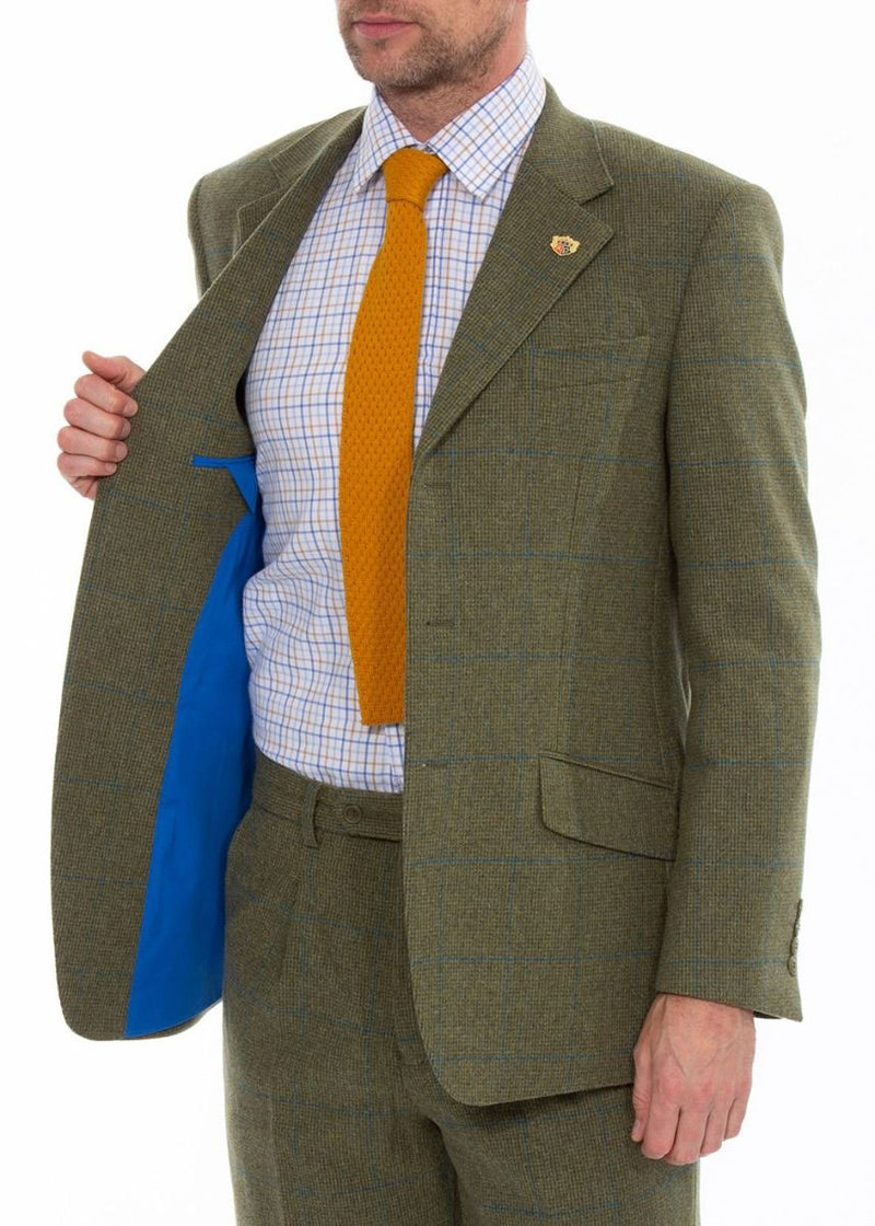 Smart Blue lining Combrook Green and Blue Check Tweed