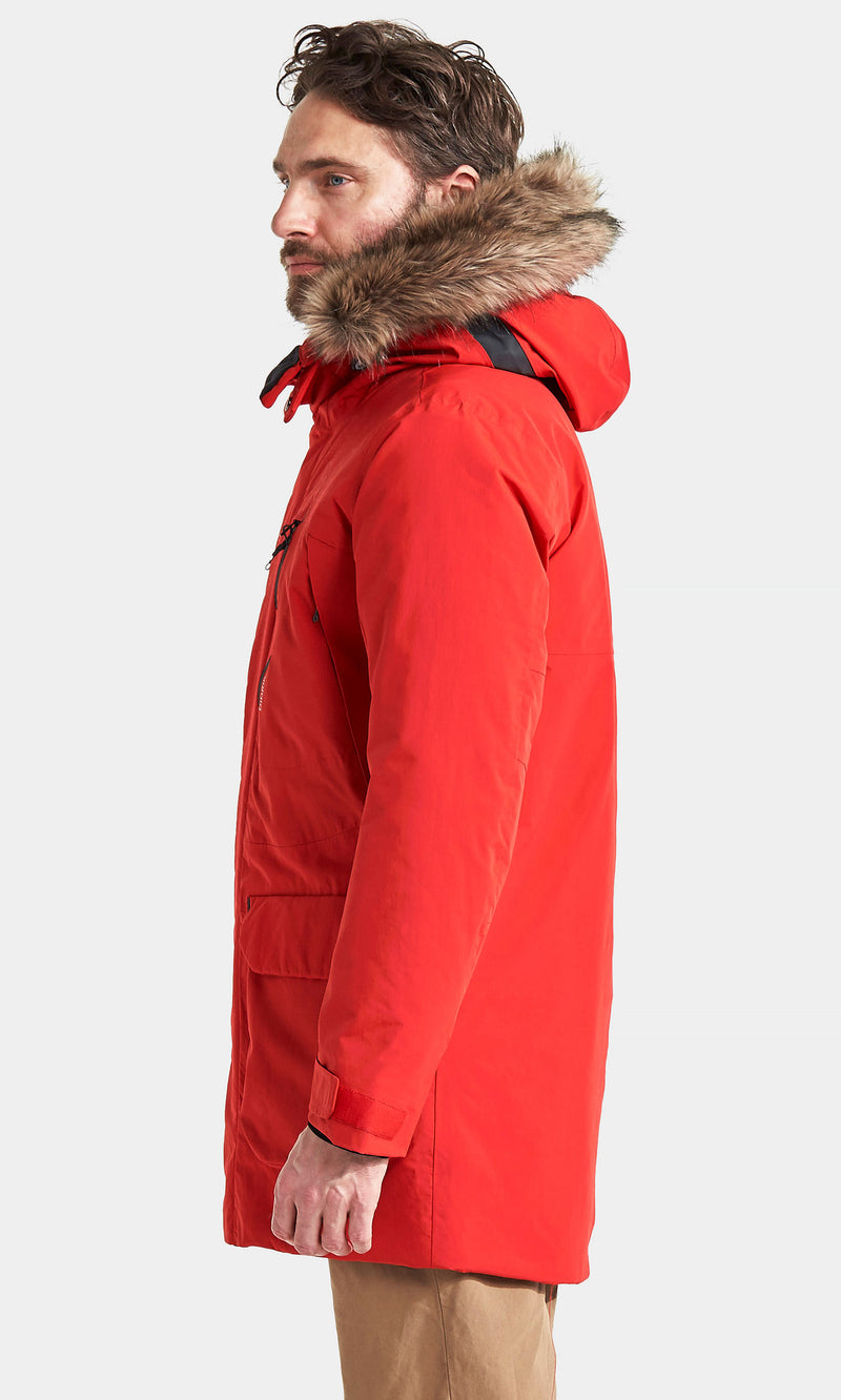 Red With Large Fur Trimmed parka hood