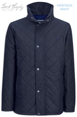 in  navy Jack Murphy Max Quilted Wax Jacket