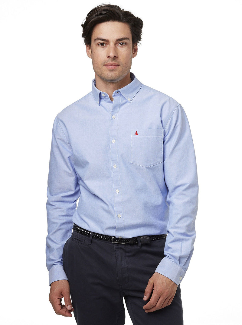 Man's 100% cotton oxford shirt in Pale Blue