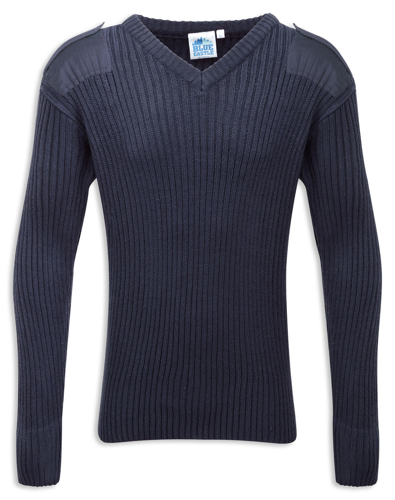 Navy Vee Neck Military Style Jumper by Fortress