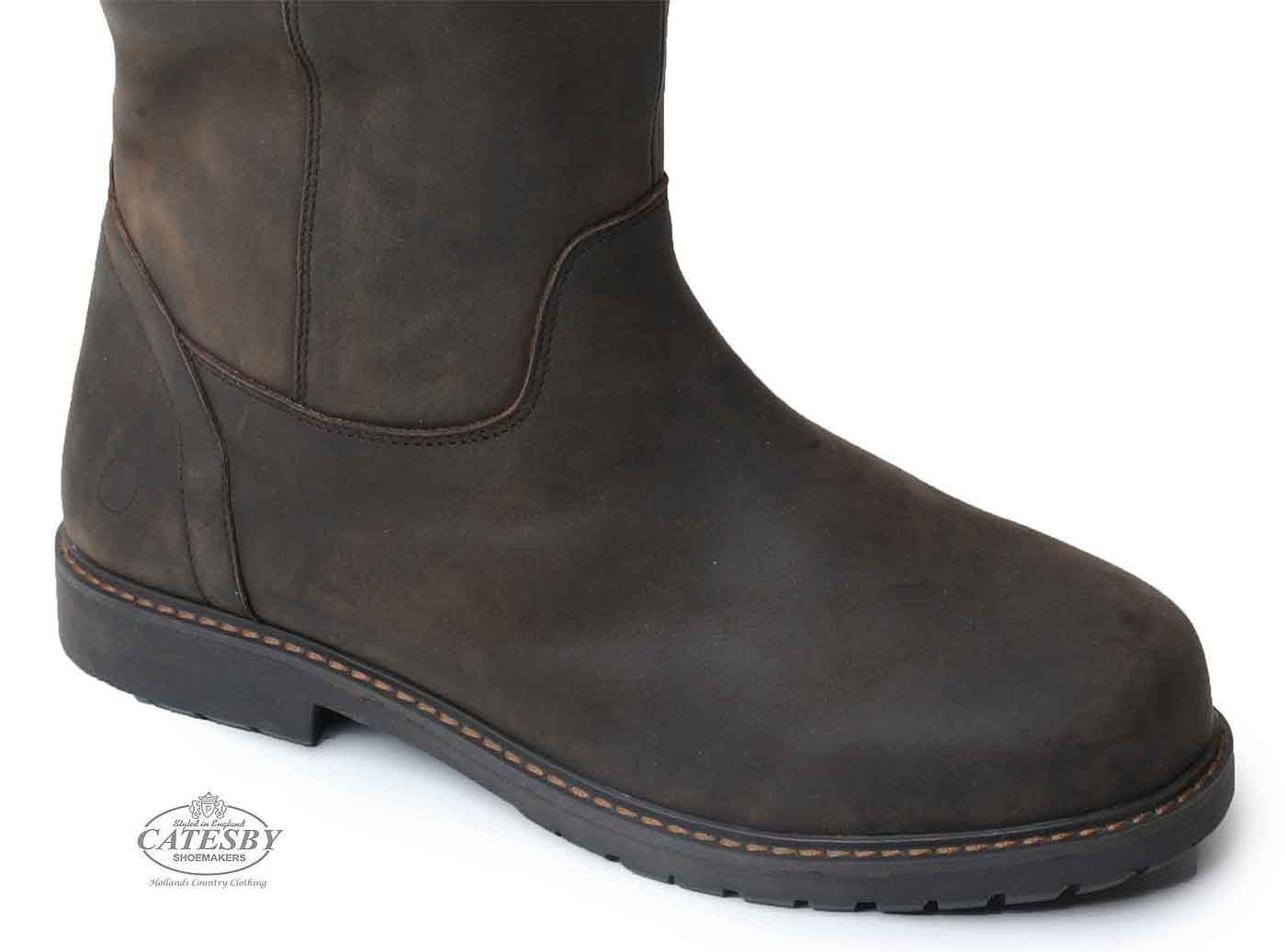 foot detail Catesby Moreton Men's Waterproof Leather  Knee High Country Boots