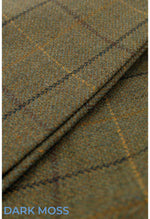 Moss green wool tweed with gold and red over check