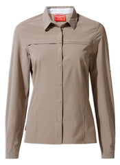 Craghoppers NosiLife Pro II Ladies Long Sleeve Shirt |    Mushroom
