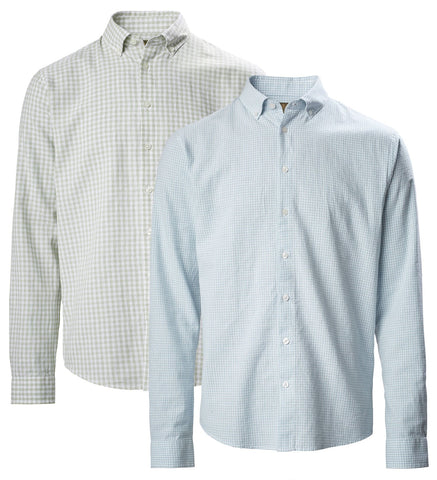 Musto Lightweight Long Sleeve Gingham Shirt | Pale Blue, reed Grey