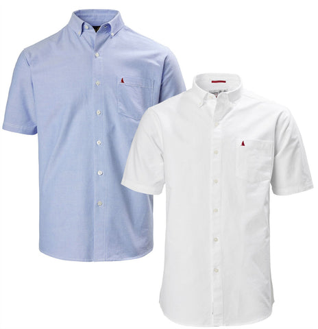Musto Aiden Short Sleeve Oxford Shirt | Pale Blue and White