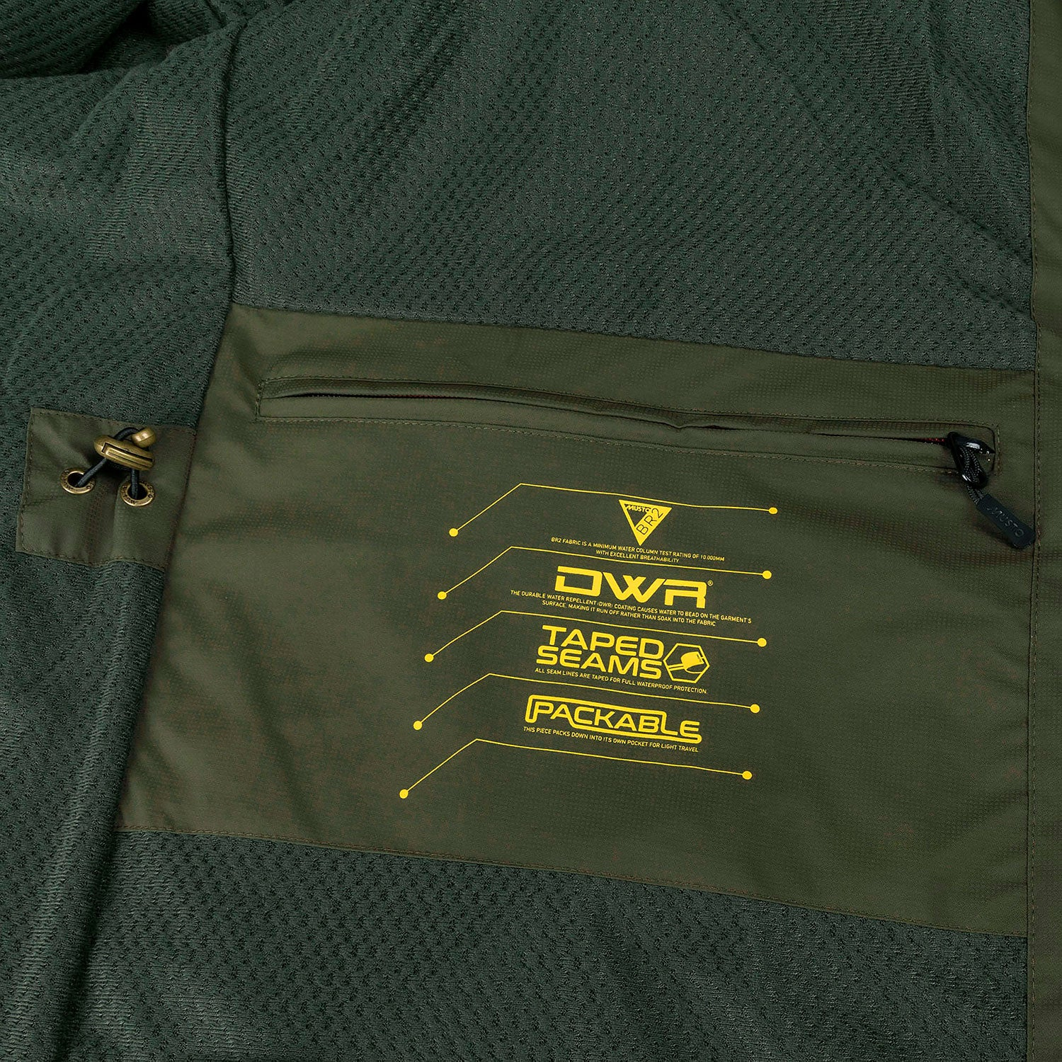 DWR Waterproof with taped seams, Packable