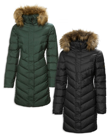 Musto Ladies Edinburgh Long Down Jacket | Scarab Green, True Black