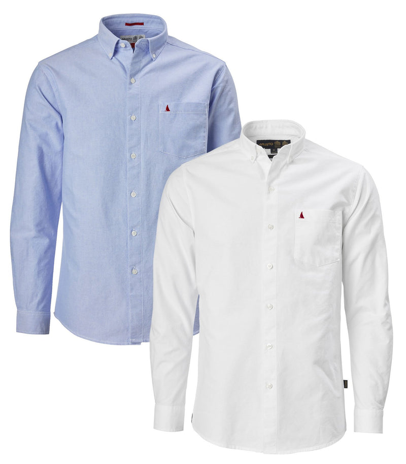 Musto Aiden Long Sleeve Oxford Shirt | White  & Pale Blue