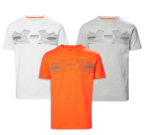 Musto X Land Rover Mountain Tee | Orange, White, Grey