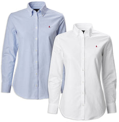 Musto Ladies Oxford Long Sleeve Shirt | Bright White, Pale Blue