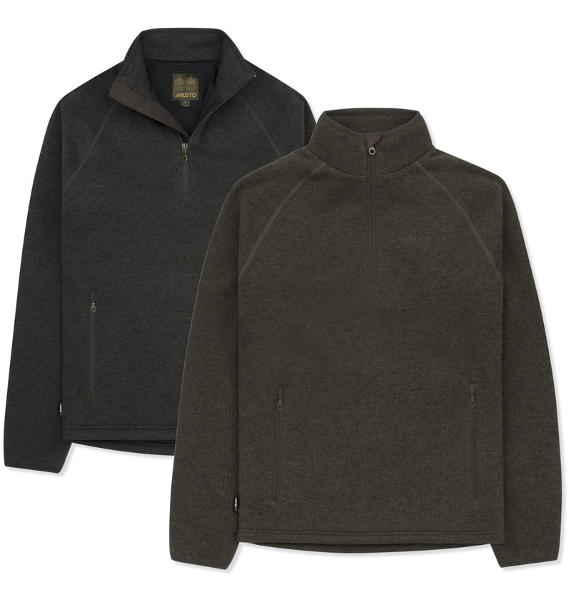Musto Polartec Windjammer Half Zip Fleece | Forest Green and Liquorice