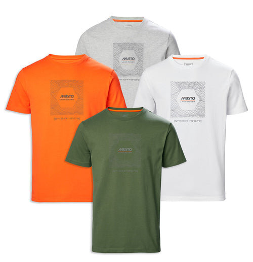 Musto X Land Rover Box Terrain Tee | Orange, White, Grey,  Green