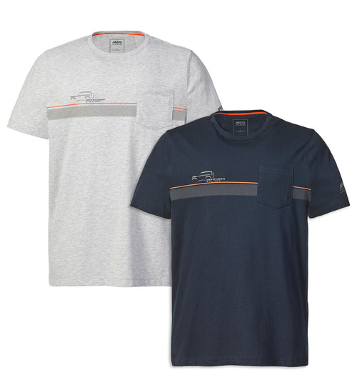 Musto X Land Rover Pocket Tee| Navy, Melange Grey