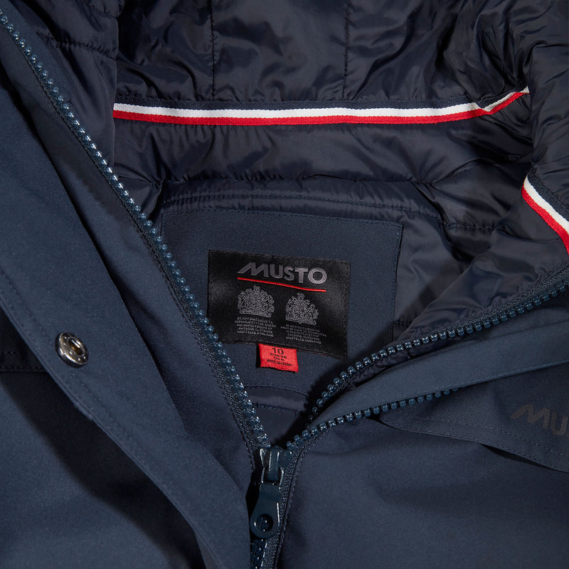 Musto by appointment label in long waterproof coat