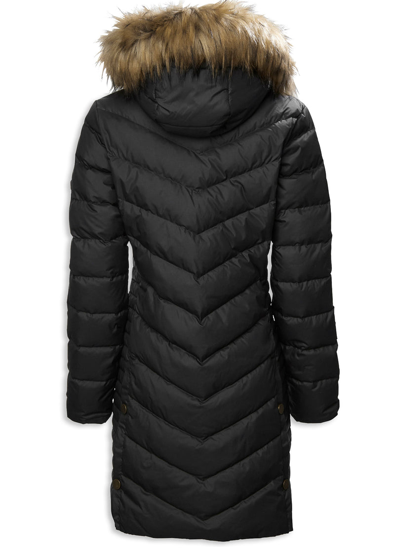 Quilted down jacket in chevron pattern