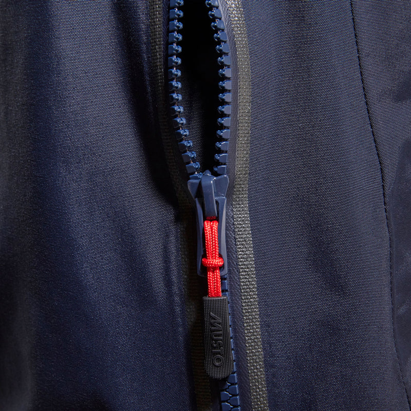Blue zip with red puller