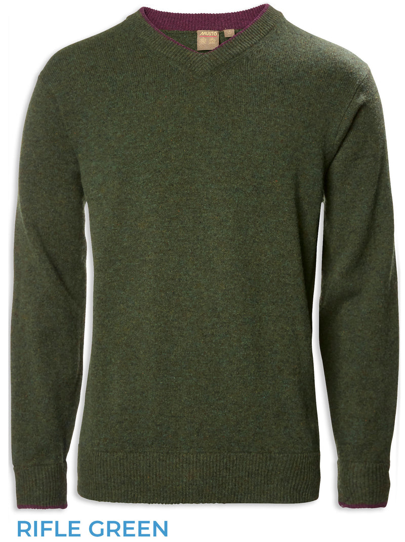 rifle Green Musto Knit V Neck Pullover