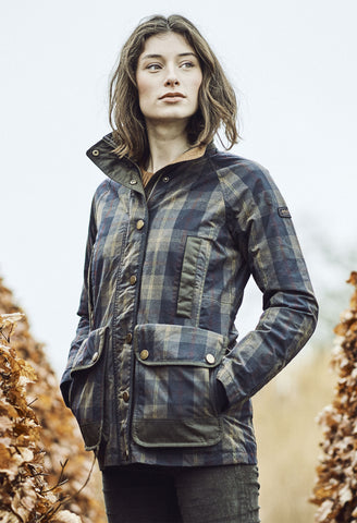 Musto Ladies Abbeystead Tartan Check pattern Oilcloth Jacket Weatherproof