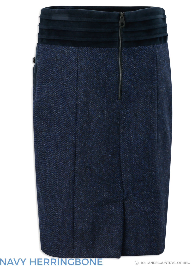 Back view Jack Murphy Norah Tweed Skirt | , Navy Herringbone