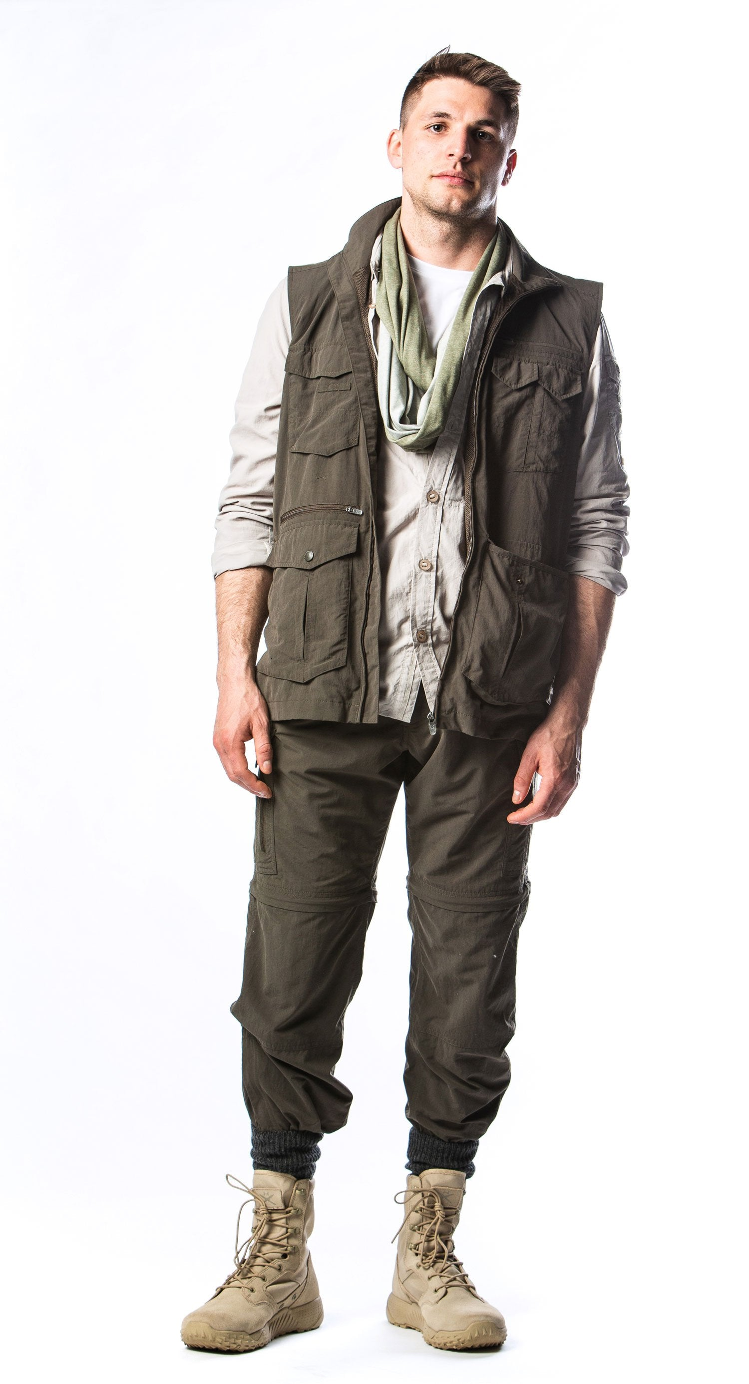 Gap year travel vest with multi pockets