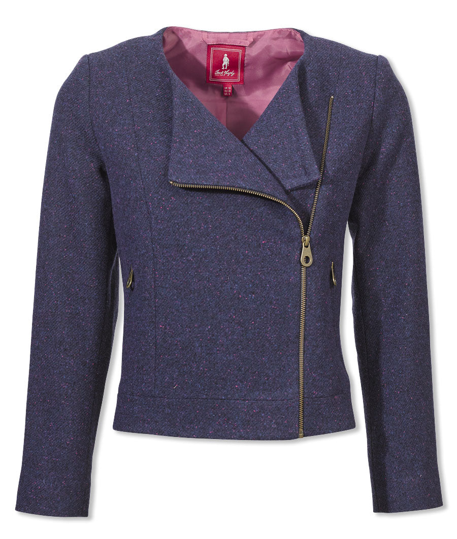 vintage blue Jack Murphy Naomi ladies Tweed jacket with a twist, asymmetrical brass zip, contrast lining, zipped side pockets,