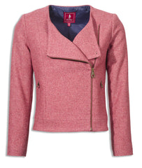 amazing pink Jack Murphy Naomi ladies Tweed jacket with a twist, asymmetrical brass zip, contrast lining, zipped side pockets,
