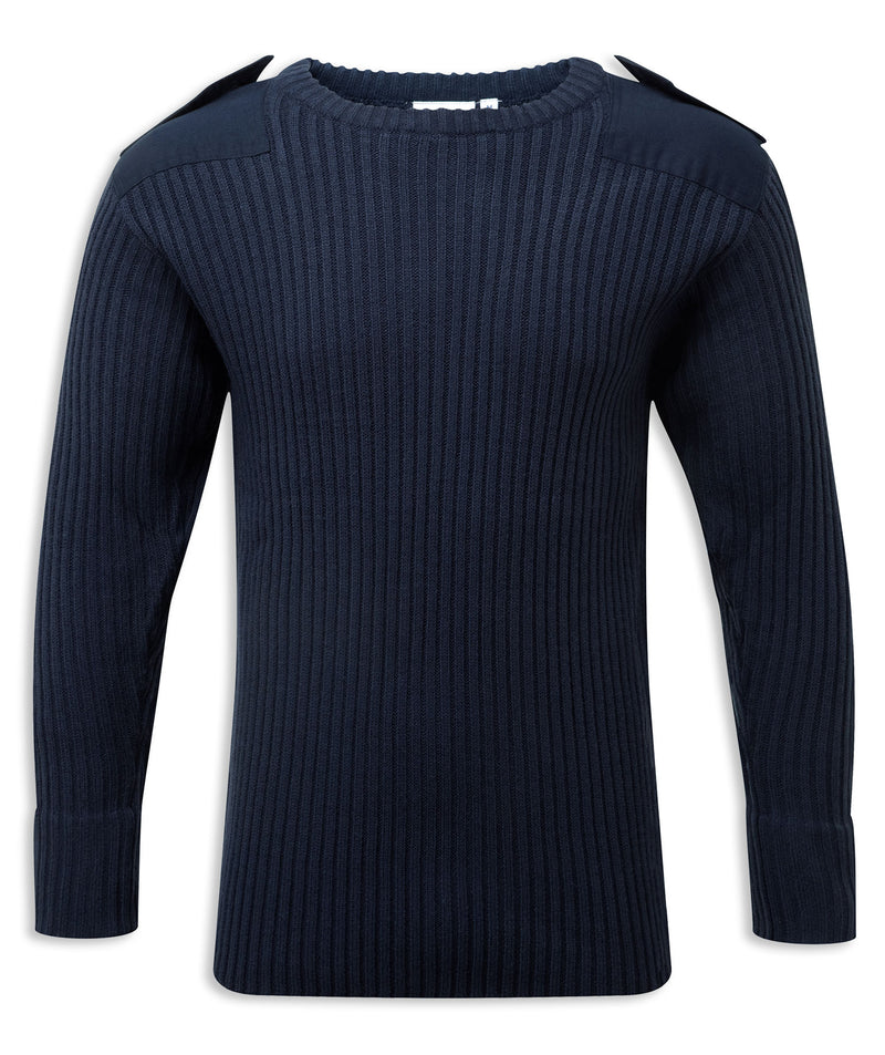Navy Crew Neck Military Style Jumper by Fortress