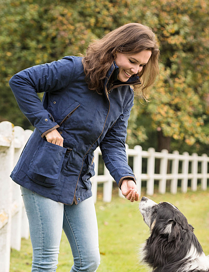 Dog walking with Ascot Ladies Waterproof Jacket by Baleno