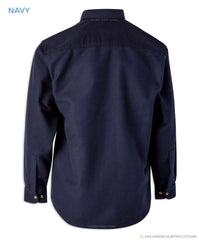 Back View Bronte Navy Blue moleskin shirt