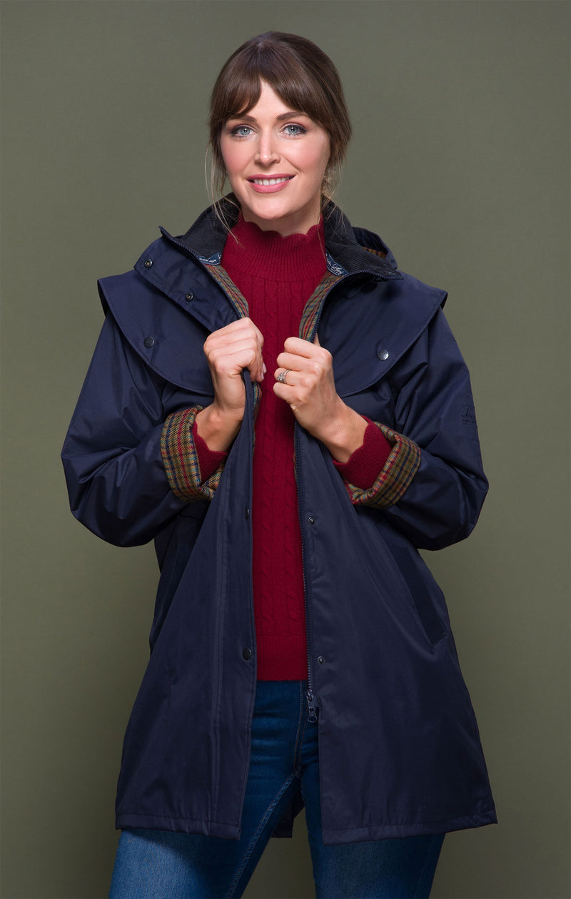 Navy Jack Murphy Cotswold Ladies Waterproof  3/4 Coat