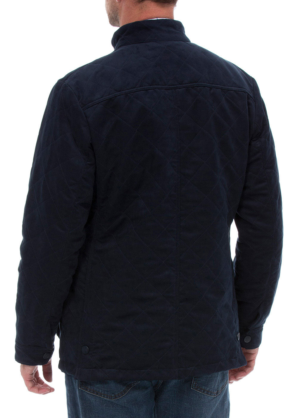 back view Alan Paine Felwell Quilted Jacket in Navy