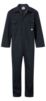 Navy Blue Fort Polycotton Stud Fastening Overalls by Castle