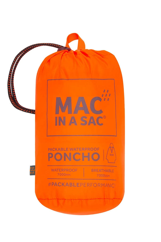 Orange Neon Blue Pac a sac Poncho