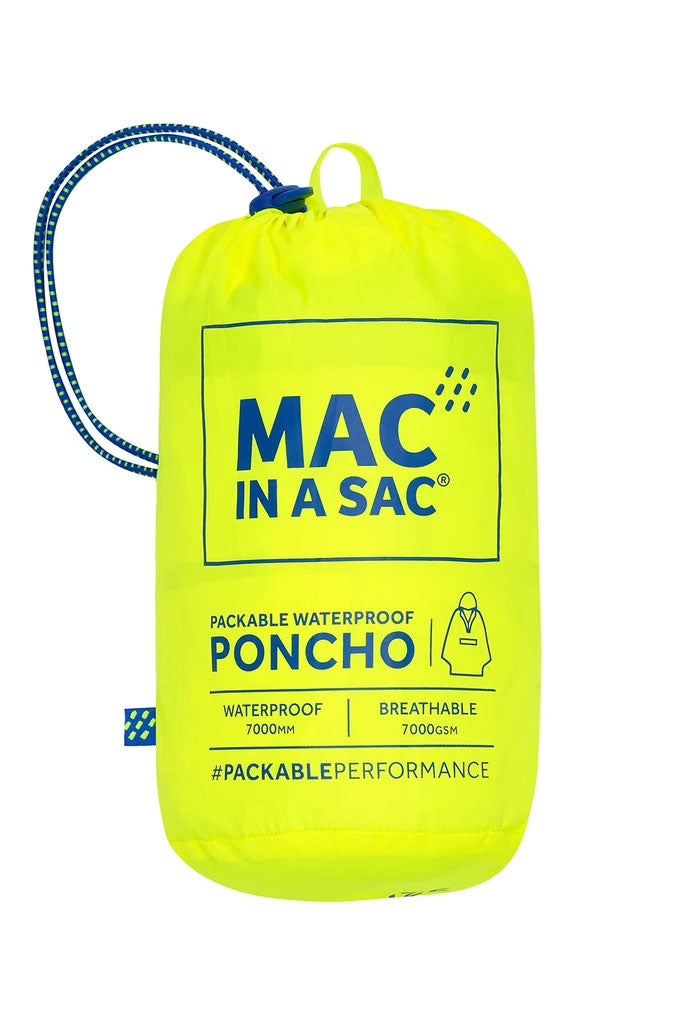 Yellow Neon Blue Pac a sac Poncho