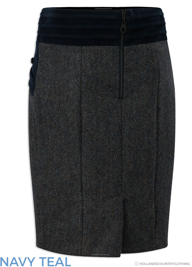 back view Jack Murphy Norah Tweed Skirt | Navy Teal,