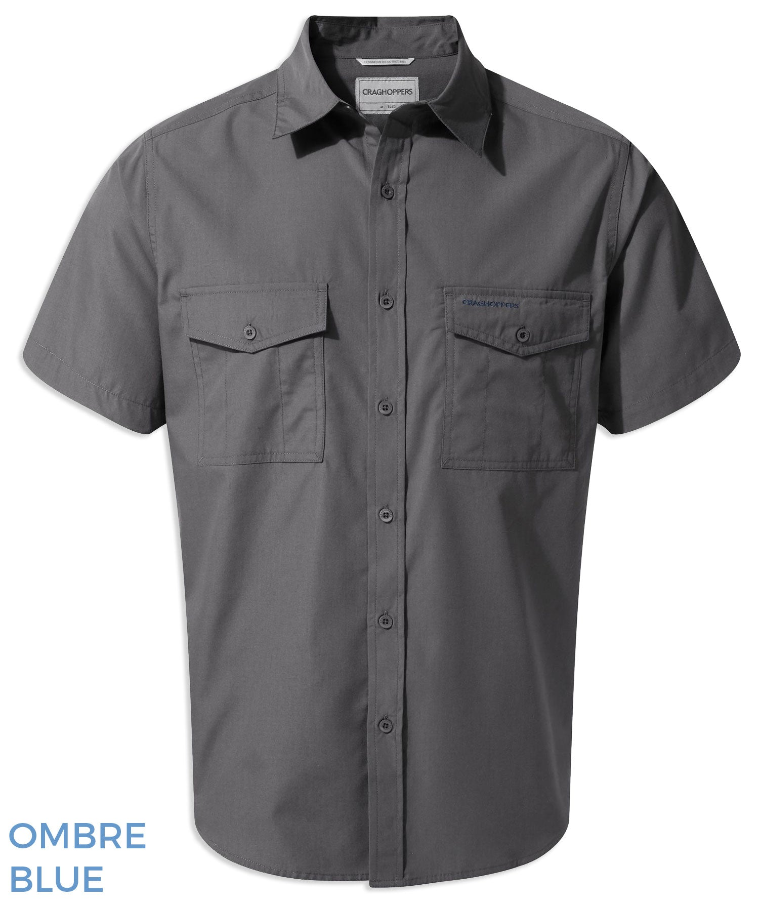 Craghoppers Kiwi Short Sleeved Shirt Ombre Blue