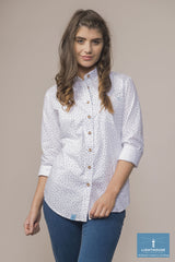 white with dots Ocean Ladies Pure Cotton Shirt by Lighthouse
