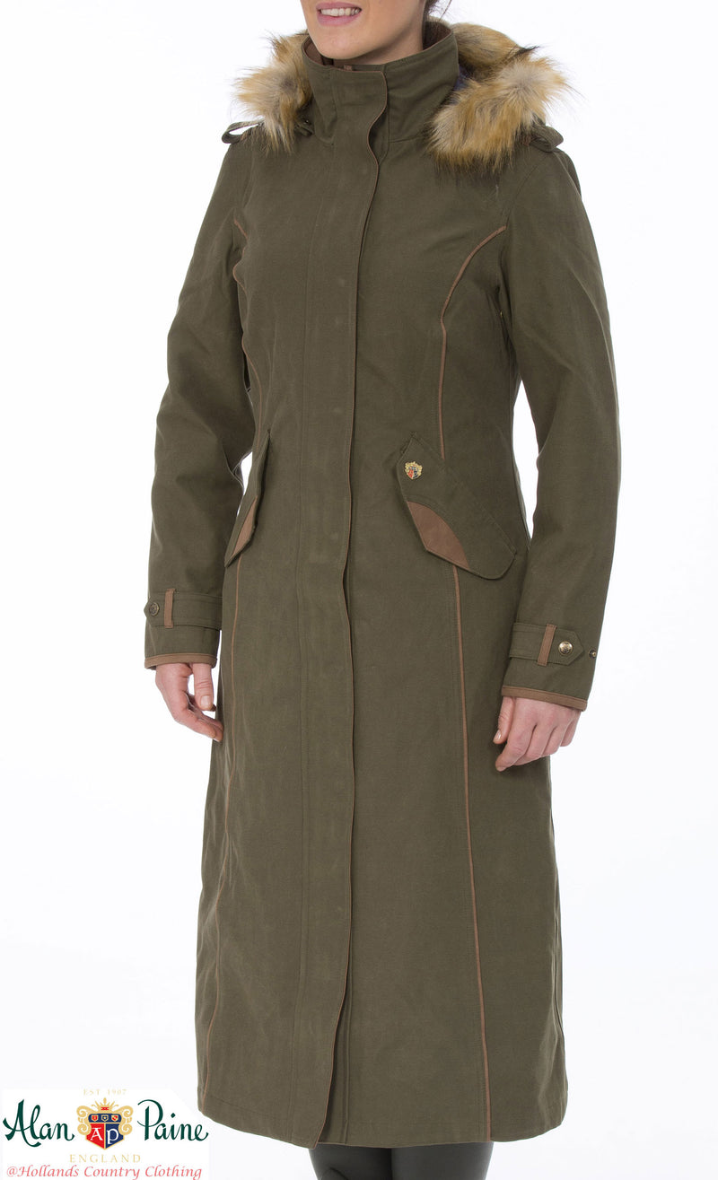 olive ladies Alan Paine Berwick Long Waterproof Coat