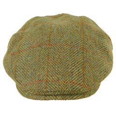 casual Heather Highland Harris Tweed Flat Cap | Olive/Gold