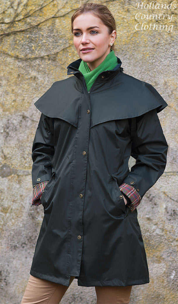 lady wearing Outrider II 3/4 Length Rain Coat by Target Dry.