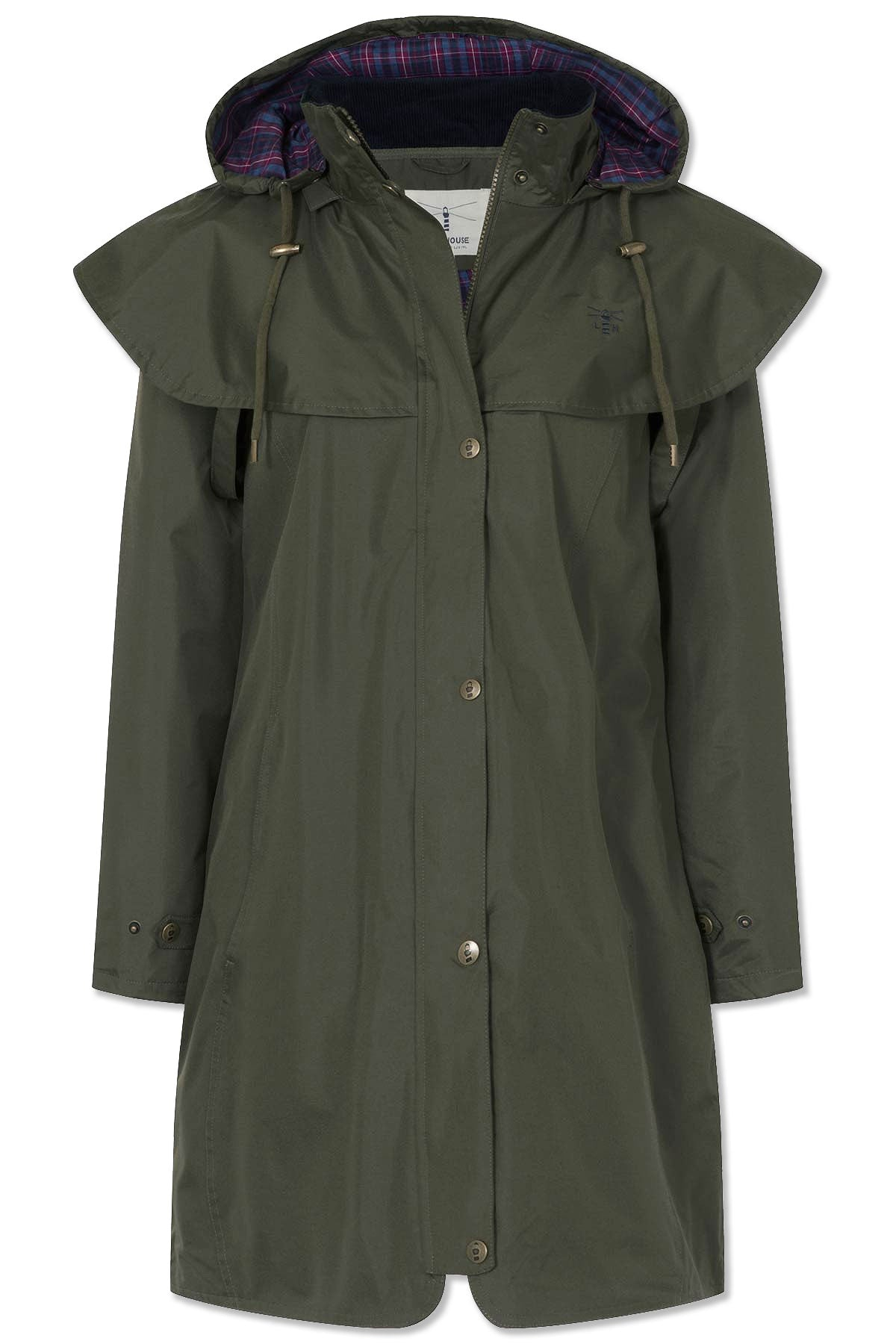 fern colour Lighthouse Outrider 3 Ladies Three Quarter Waterproof Coat