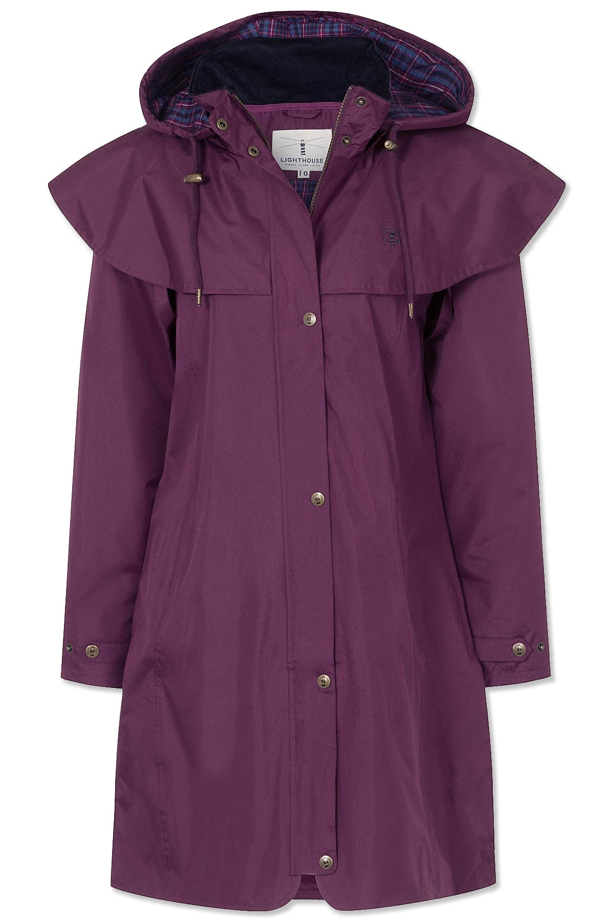 plum colour Lighthouse Outrider 3 Ladies Three Quarter Waterproof Coat