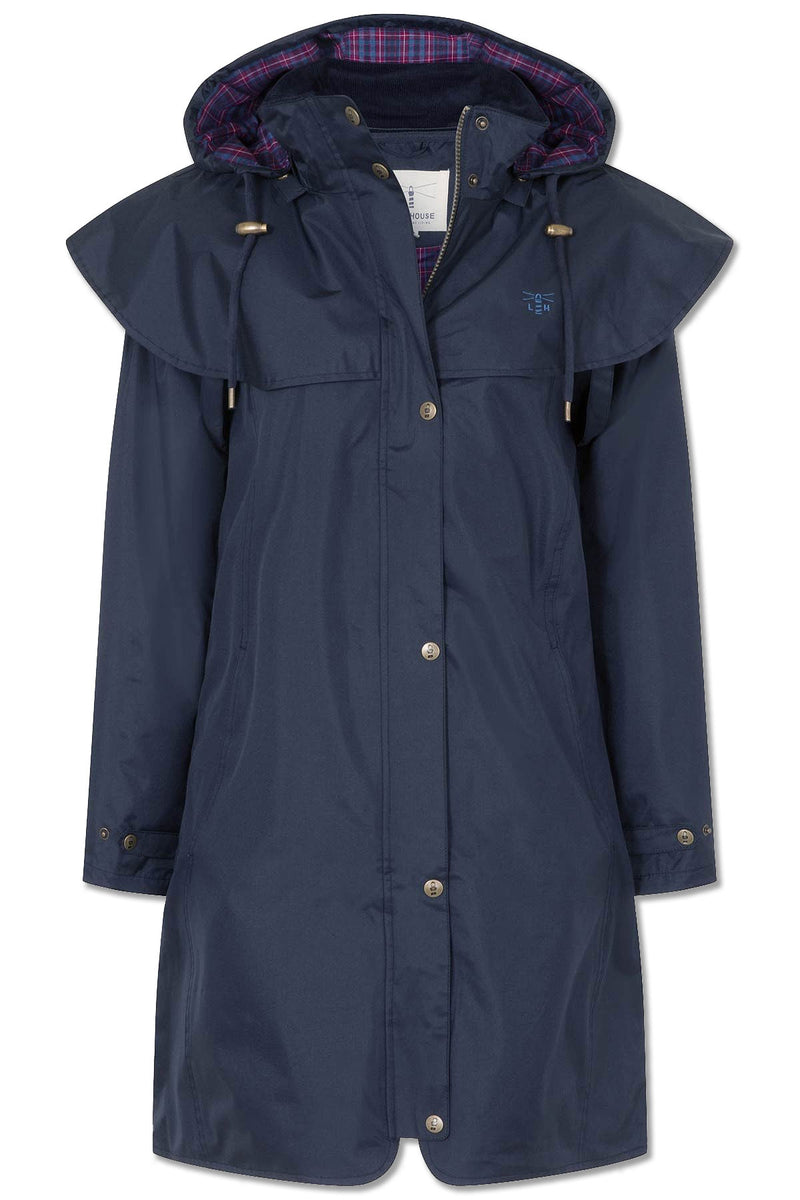 night shade navy colour Lighthouse Outrider 3 Ladies Three Quarter Waterproof Coat