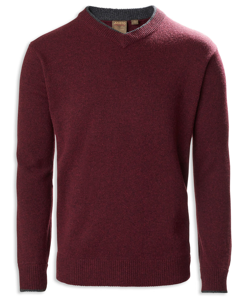 Oxblood Musto Knit V Neck Pullover
