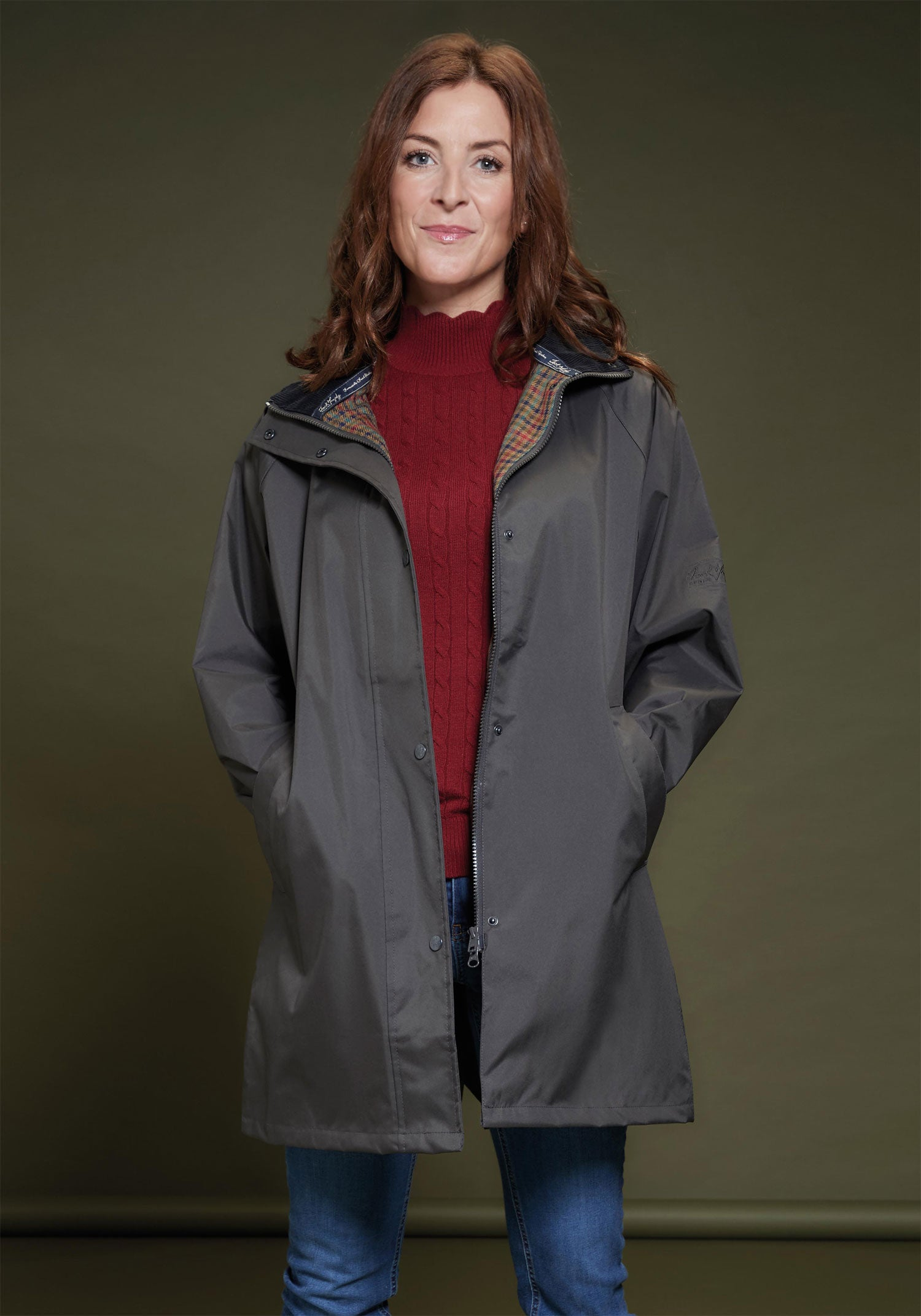 Country Olive green Ladies OXFORD Waterproof Coat by Jack Murphy